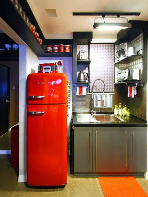 Exceptionnel Red Retro Refrigerator For Small Kitchen Design