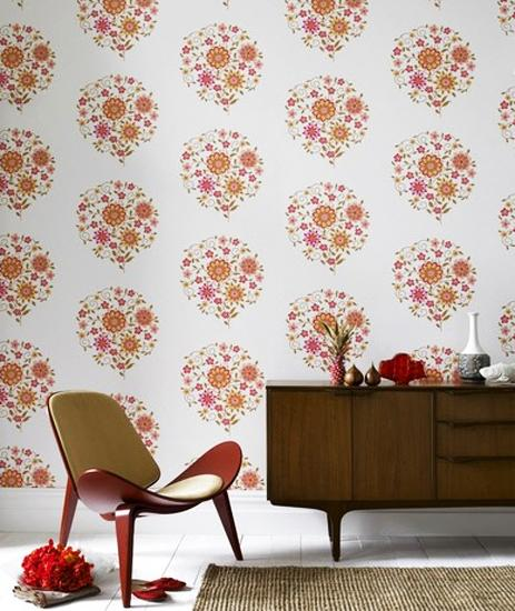 Modern Interior Design And Decorating With Retro Floral Wallpaper