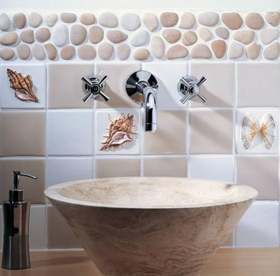 Bathroom Wall Tiles In Blue Color With Various Sea Shell Images