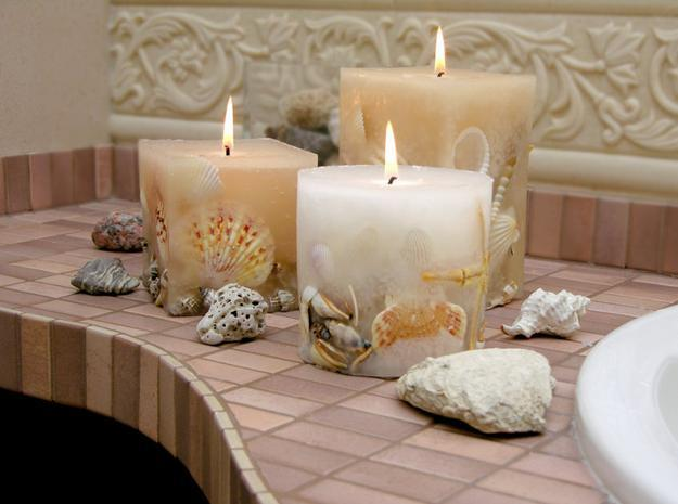 Seashell Bathroom Decor Sea Shells And Candles