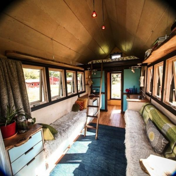 small mobile home created with salvaged wood