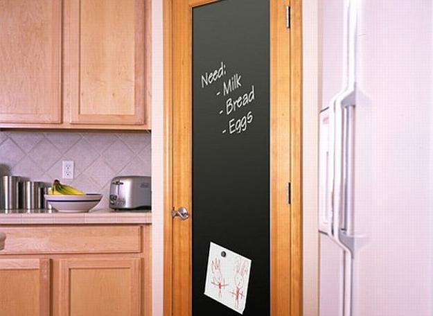 Interior Door Decorated With Black Chalkboard Paint