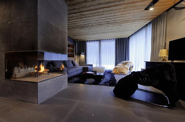 modern interior design with rustic wood and stone in contemporary style