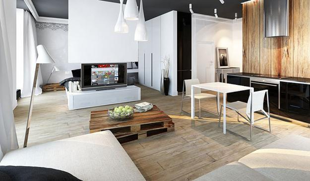 Cool Apartment Ideas Blending Wood Into Black And White Interior Design And Decor