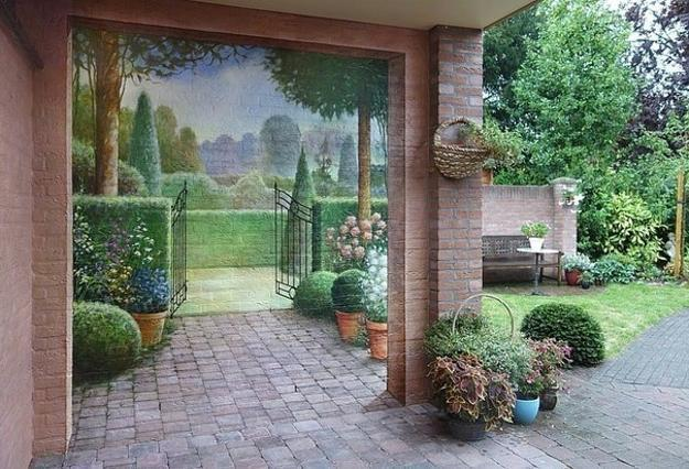garden painting ideas for brick walls and house exterior decorating