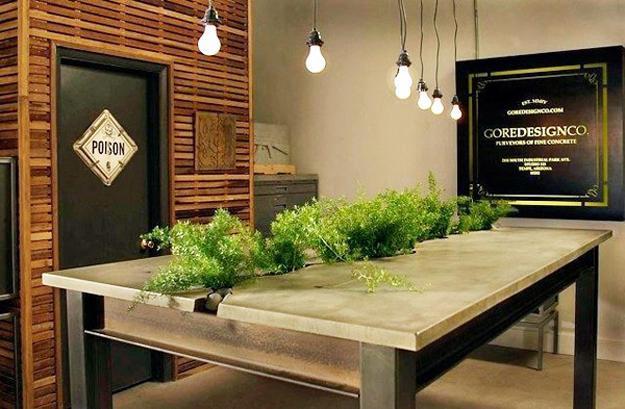 Ordinaire Concrete Table With Indoor Plants, Unique Furniture Design Idea By Gore