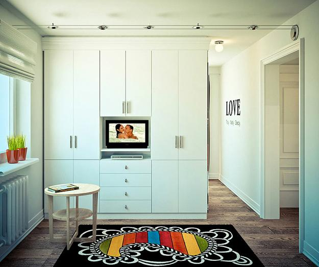 Small Apartment Zinging With Color: Modern Interior Design Playing With Contrasting Blue And
