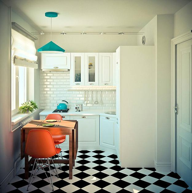 black and white rooms with accents in blue and orange colors