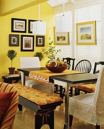 Exceptional Dining Room Decorating With Window Curtains, Furniture Upholstery Fabrics  And Cushions In Yellow And Green Colors