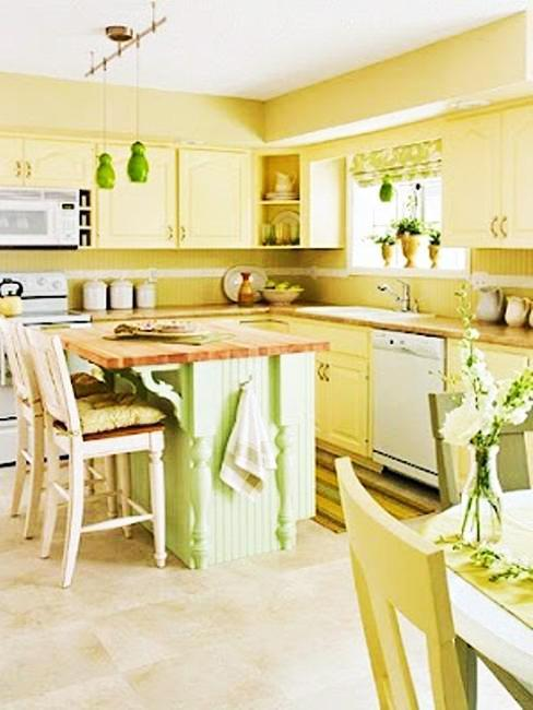 innovative yellow kitchen wall paint ideas | 20 Modern Kitchens Decorated in Yellow and Green Colors