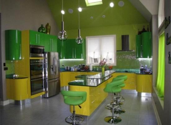 White Kitchen Cabinets And Walls In Yellow Green Colors