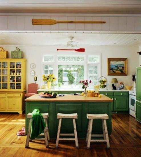 green kitchen island 20 modern kitchens decorated in yellow and green colors 11962