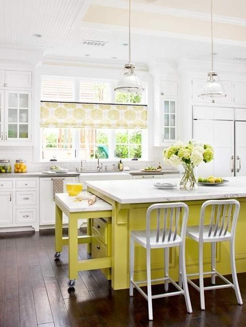 Yellow Kitchen Curtain And Island Green Accents