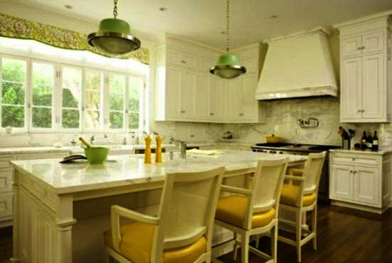 Modern Kitchens Decorated In Yellow And Green Colors - Colors for kitchen cabinets and walls