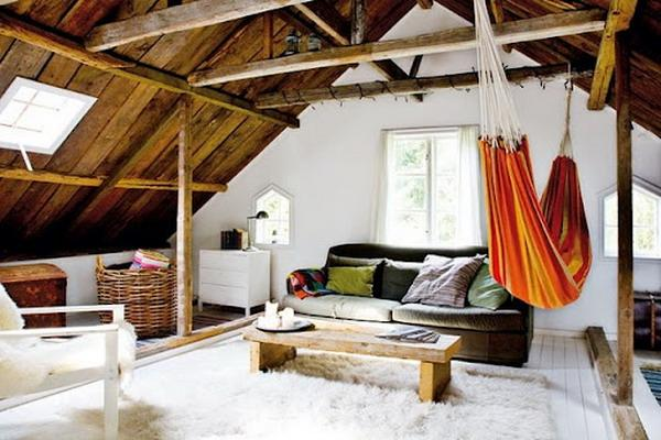 modern interior design with hammocks