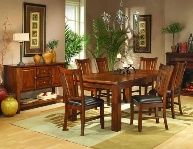 Wooden Dining Furniture, Indoor Plants And Dining Room Decorating  Accessories In Yellow Color Shades
