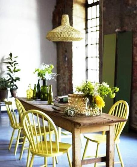 ideas  dining room decorating  yelow  green colors