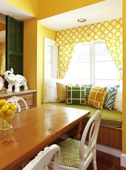Amazing Dining Room Decorating With Window Curtains, Furniture Upholstery Fabrics  And Cushions In Yellow And Green Colors
