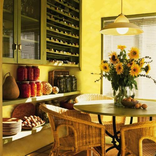 25 ideas for dining room decorating in yelow and green colors for Yellow and green living room ideas