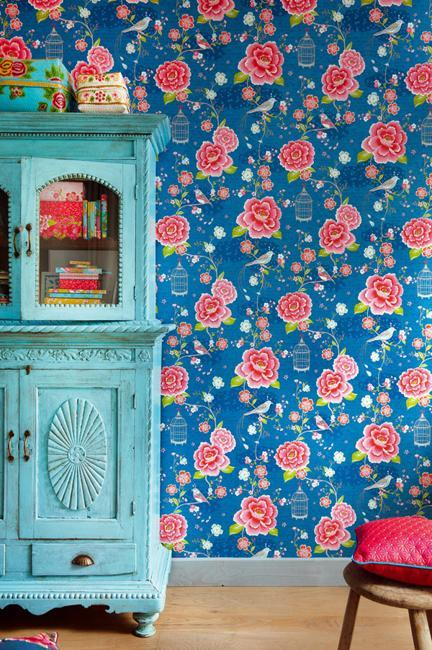 Modern wallpaper with colorful floral designs for beautiful wall modern wallpaper in rich blue color with pink flowers mightylinksfo