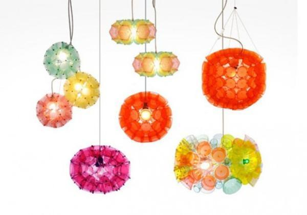modern lighting fixtures handmade with plastic glasses