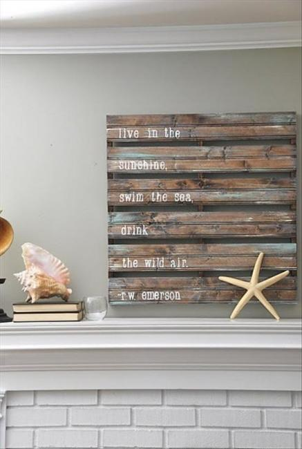 Recycling Wood Pallets For Fireplace Decorating