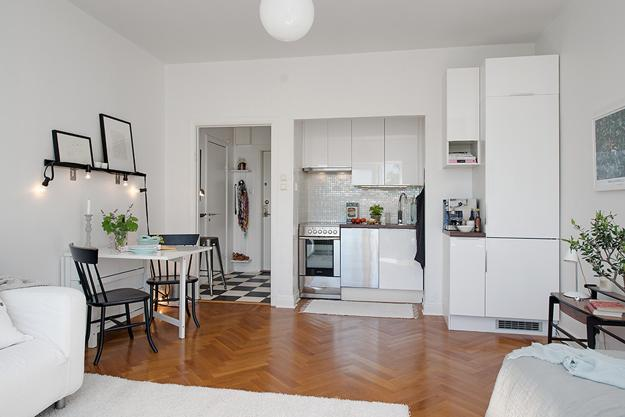 Modern Small Kitchen Design With White Cabinets And Contemporary Liances