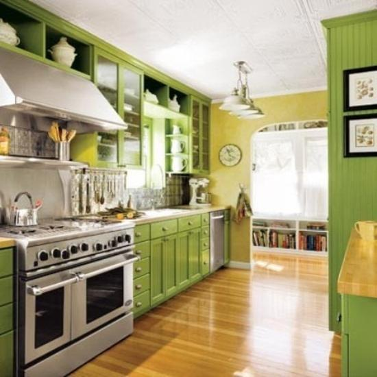 Greene And Greene Kitchen Cabinets: Small Kitchen Designs In Yellow And Green Colors