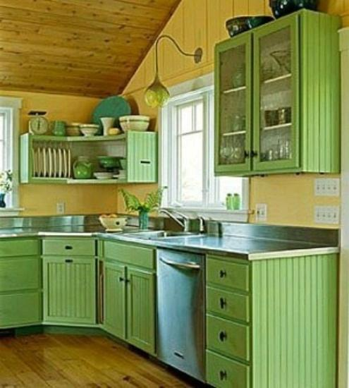 Pale Yellow Kitchen Cabinets: Small Kitchen Designs In Yellow And Green Colors