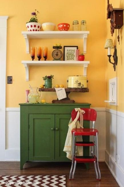 Green Kitchen Cabinets White Wall Shelves Yellow Paint And Red Accents