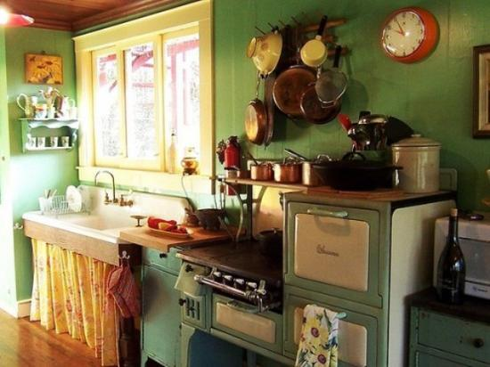 Green Wall Paint Yellow Sink Curtain And Kitchen Cabinets In Retro Style