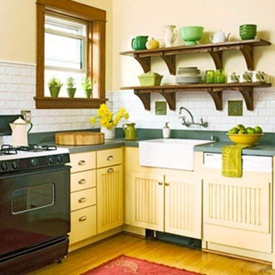 modern kitchen designs in green and yellow colors