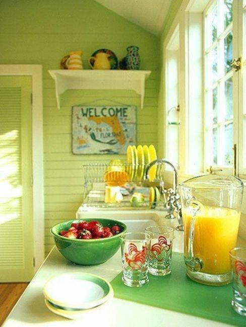 Tips For Kitchen Color Ideas: Small Kitchen Designs In Yellow And Green Colors