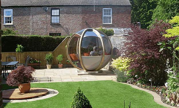 House Backyard Ideas sphere garden houses adding contemporary touch to backyard landscaping