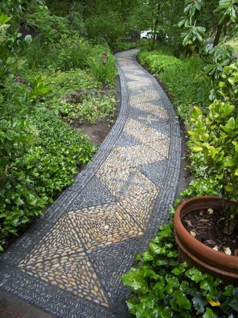 Beautiful Garden Path Designs and Ideas for Yard ... on Pebble Yard Ideas id=28140