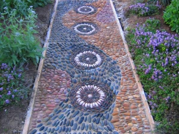 Beautiful Garden Path Designs and Ideas for Yard ... on Pebble Yard Ideas id=31387