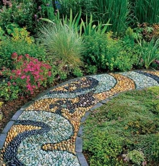 Beautiful Garden Path Designs and Ideas for Yard ... on Backyard Pebbles Design id=94077