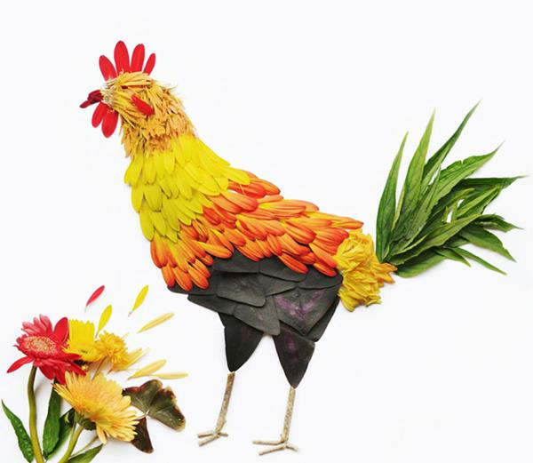 making birds with flower petals, unusual art and craft ideas