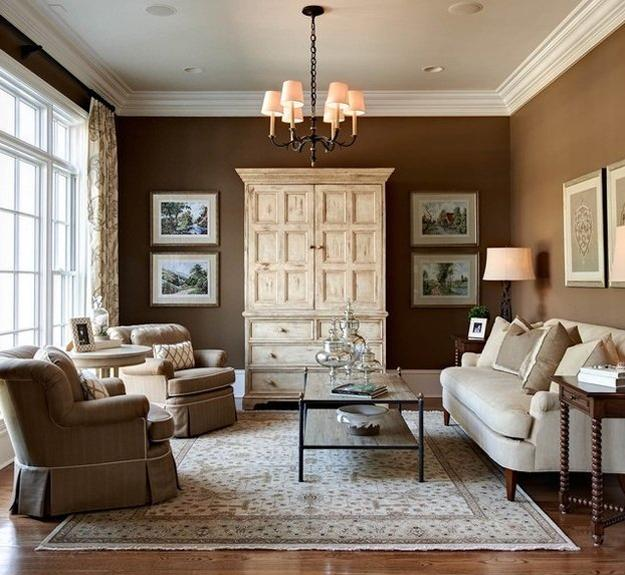 Living Room Design With Brown Walls