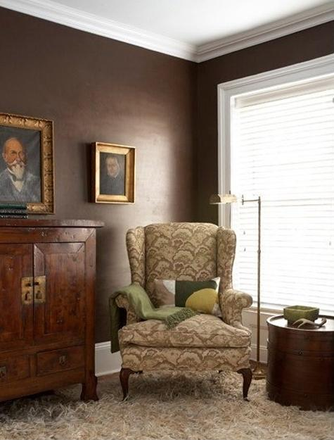 Brown Wall Paint And Chair Upholstery Fabric In Creamy Yellow Colors