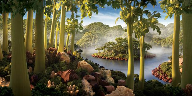 art and design ideas, landscapes made with food
