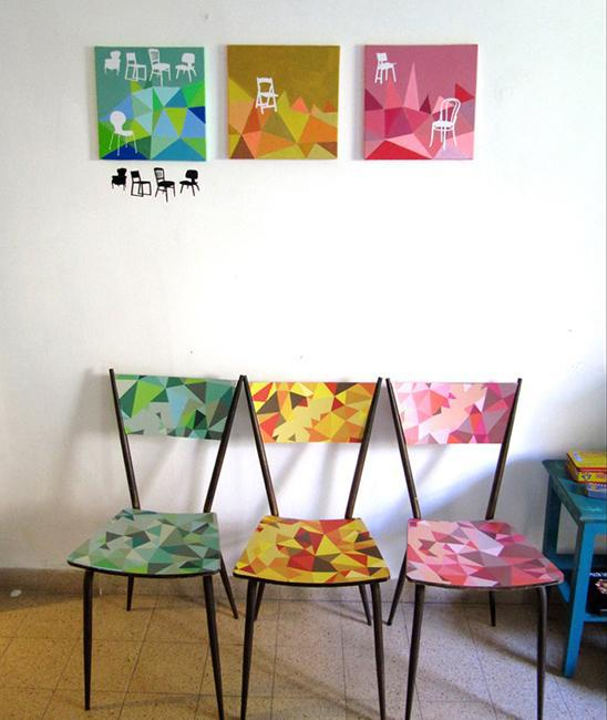 black wall stickers and colorful acrylic painting ideas for furniture decoration and wall decor