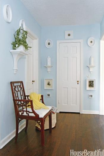 Hallway Decorating With White And Light Blue Colors Frames Antique Brackets