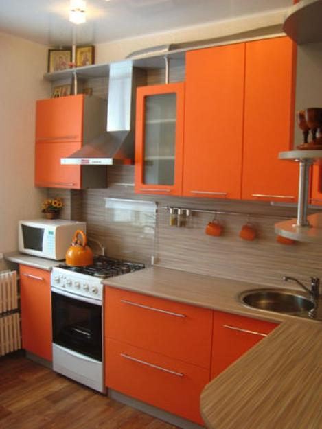 Blue Wall Paint And Orange Kitchen Cabinets Contemporary Design