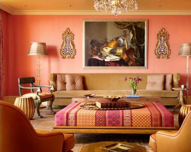 Living Room Design Orange Paint And Furniture