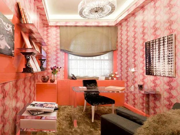 Home Office Design Orange Paint And Wallpaper With Vertical Stripes On Walls