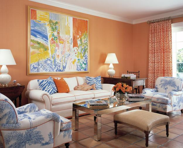 Blue And Orange Color Combination For Living Room Design Paint Pillows Window Curtains Flowers Wall Art