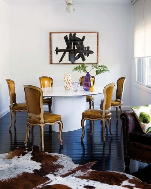 Casual Dining Rooms Decorating Ideas For A Soothing Interior: Modern Interior Design With Handmade Leather And Fur