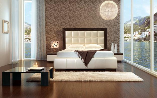 modern bedroom designs with natural materials and natural bedding fabrics