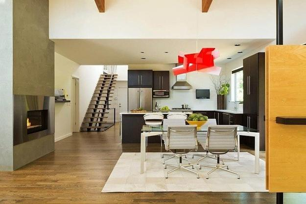 modern interior decorating with accents in yellow and red colors
